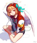 1girl angel_wings armband bangs bare_legs barefoot between_legs black_shorts bow boyshorts cable collarbone drawstrings feathered_wings green_bow halo hand_between_legs hat hat_bow highres hood hood_up hoodie indian_style long_sleeves looking_at_viewer open_mouth orange_hair original parted_lips pink_lips red_eyes red_hoodie rinotuna short_hair shorts simple_background sitting solo spread_wings star star_print teeth upper_teeth white_background wings