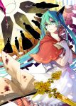 1girl alcohol bad_end_night_(vocaloid) black_ribbon blood blue_eyes blue_hair book capelet coffin dress eyebrows_visible_through_hair floating_hair glass green_hair hair_between_eyes hair_ribbon hatsune_miku holding letter long_hair multicolored_hair nozaki_tsubata open_book open_mouth ribbon solo twintails two-tone_hair very_long_hair vocaloid white_dress wine