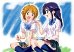 2girls blue_hair blush brown_hair chopsticks commentary_request eating feeding futari_wa_precure indian_style long_hair misumi_nagisa mtu_(orewamuzituda) multiple_girls obentou open_mouth precure school_uniform short_hair sidelocks sitting smile violet_eyes yukishiro_honoka