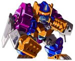1boy 90s beast_machines beast_wars beni_(8204) cannon clenched_hand glowing grinding highres insignia machine machinery mecha megatron megatron_(beast_wars) no_humans oldschool personification red_eyes robot simple_background smile solo spoilers teeth transformers weapon white_background