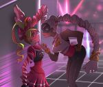 2girls :o arms_(game) bent_over blonde_hair blue_eyes blush bow boxing_gloves breasts dark_skin domino_mask drill_hair earrings eyelashes face-to-face finger_to_chin green_hair hair_bow jewelry lipstick long_hair looking_at_another makeup mask multicolored_hair multiple_girls nail_polish nintendo open_mouth pants pink_hair pleated_skirt ribbon_girl_(arms) skirt smile sweatdrop twintelle_(arms) two-tone_hair white_hair yuri