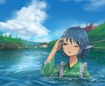 1girl blue_eyes blue_hair blue_sky blush clouds day drill_hair green_kimono head_fins japanese_clothes kimono lake mermaid monster_girl roke_(taikodon) scarlet_devil_mansion scenery short_hair sky touhou wakasagihime wet wet_clothes wet_hair