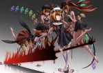 4girls barefoot black_sclera blonde_hair boots brown_hair chains collar collar_tug commentary_request crystal dark_persona dark_skin energy_sword eyebrows_visible_through_hair facial_tattoo fingernails flandre_scarlet four_of_a_kind_(touhou) frilled_skirt frills gradient gradient_background grey_skin grin hat high_heels highres holding holding_weapon inyuppo laevatein midriff mismatched_sclera mob_cap multicolored multicolored_skin multiple_girls multiple_persona pointy_ears red_eyes revealing_clothes ribbon sharp_fingernails side_ponytail skirt slit_pupils smile sword tattoo thigh-highs thigh_boots torn_clothes touhou vampire veins weapon wings wrist_cuffs