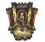 1girl armor banner blonde_hair brick_floor brick_wall choker circlet diorama frilled_skirt frills gauntlets greaves holding holding_sword holding_weapon kurio original pink_eyes plaid plaid_skirt ponytail puffy_short_sleeves puffy_sleeves short_sleeves skirt solo standing sword torch weapon white_background