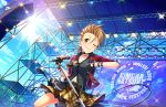 1girl artist_request belt black_nails blue_sky breasts brown_hair character_name checkered checkered_skirt choker cleavage collarbone ear_piercing earrings fingerless_gloves gloves green_eyes holding idolmaster idolmaster_cinderella_girls idolmaster_cinderella_girls_starlight_stage jacket jewelry kimura_natsuki looking_at_viewer microphone microphone_stand multicolored_hair nail_polish navel necklace official_art one_eye_closed outdoors piercing pleated_skirt red_jacket red_nails short_hair skirt sky smile solo stage sunglasses sunglasses_removed sunlight two-tone_hair