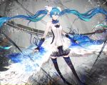 1girl 7th_dragon_(series) 7th_dragon_2020 ankle_ribbon black_legwear black_skirt blue_eyes blue_hair blue_ribbon breasts choker copyright_name floating_hair full_body hair_between_eyes hair_ornament hatsune_miku highres long_hair looking_at_viewer marumoru medium_breasts miniskirt pleated_skirt ribbon shirt signature skirt solo standing strapless_shirt thigh-highs twintails very_long_hair vocaloid white_shirt zettai_ryouiki