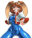 1girl animal_ears blue_bodysuit bodysuit brown_eyes brown_hair clenched_hand covered_navel cropped_jacket fighting_stance gloves goggles goggles_on_head grin jacket looking_at_viewer makihara_arina rabbit_ears red_gloves shinonome_(game_hakkutsu_tai) short_hair smile solo teeth waku_waku_7 white_background white_jacket