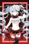 1girl absurdres arm_up bad_id black_legwear flower hair_flower hair_ornament hatsune_miku highres long_hair midriff nail_polish navel nisoku_hokou_(vocaloid) skirt solo thigh-highs thigh_gap twintails very_long_hair vocaloid