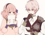 1boy 1girl curly_hair fire_emblem fire_emblem_echoes:_mou_hitori_no_eiyuuou flower gloves grey_background hairband jenny_(fire_emblem) jewelry kliff_(fire_emblem) nana_(mizukas) necklace paper pink_hair red_eyes simple_background sparkle upper_body white_hair