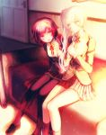 2girls :d blush brown_hair couch hands_clasped loafers long_hair multiple_girls open_mouth pantyhose ponytail ruby_rose rwby shoes short_hair smile suname weiss_schnee white_hair