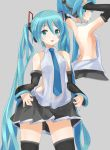 1girl aqua_eyes aqua_hair arms_up backless_outfit detached_sleeves hatsune_miku headphones highres long_hair moeufocatcher nail_polish necktie skirt solo thigh-highs twintails very_long_hair vocaloid