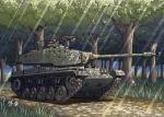 1boy earasensha flower forest grass ground_vehicle gun m41_walker_bulldog machine_gun military military_vehicle motor_vehicle nature original sky tank tree weapon