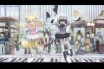 2girls :3 animal_ears audience big_(movie) black_hair blonde_hair bow bowtie commentary common_raccoon_(kemono_friends) fennec_(kemono_friends) fox_ears fox_tail gloves kemono_friends multicolored_hair multiple_girls open_mouth parody piano_keys puffy_short_sleeves puffy_sleeves raccoon_ears raccoon_tail short_hair short_sleeves skirt smile standing standing_on_one_leg tail thigh-highs ueyama_michirou