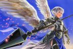 1girl abs_(ebisuzc94rghw) armor black_legwear blue_eyes cowboy_shot day embers feathers gauntlets holding holding_weapon lance looking_to_the_side open_mouth original pelvic_curtain polearm short_hair sky solo thigh-highs weapon white_hair wings year_of_the_rooster