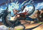 1girl armor blue_eyes breasts day dragon dual_wielding eruthika fantasy grey_hair highres holding holding_sword holding_weapon lance long_hair magic_circle medium_breasts navel_cutout open_mouth original outdoors polearm riding solo sword teeth weapon