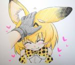 2girls :3 ^_^ animal_ears bare_shoulders blonde_hair blush bow bowtie closed_eyes colored_pencil_(medium) elbow_gloves fang gloves hand_on_another's_head hanya_(hanya_yashiki) heart kaban_(kemono_friends) kemono_friends multiple_girls petting serval_(kemono_friends) serval_ears serval_print short_hair solo_focus traditional_media
