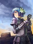 1girl armor belt blue_eyes blue_hair breastplate brick_wall chainmail flower gauntlets hair_flower hair_ornament kurio looking_afar original pauldrons plate_armor short_hair sky solo
