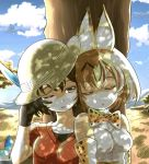 2girls animal_ears bare_shoulders black_hair blonde_hair bow bowtie brown_eyes closed_eyes commentary elbow_gloves gloves hat hat_feather highres kaban_(kemono_friends) kemono_friends leaning_on_person lucky_beast_(kemono_friends) multiple_girls one_eye_closed open_mouth rubbing_eyes serval_(kemono_friends) serval_ears serval_print shade short_hair sleeping zatou_(kirsakizato)