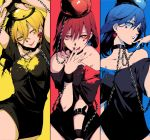 3girls bare_shoulders black_dress blonde_hair blue_eyes blue_hair bound bound_wrists breasts chains collar collarbone crescent_moon dress earrings fingernails hands_above_head heart hecatia_lapislazuli highres jewelry lipstick looking_at_viewer makeup medium_breasts medium_hair moon multiple_girls red_eyes redhead shirt shirt_pull smile star t-shirt tongue tongue_out touhou uu_uu_zan winking wristband yellow_eyes