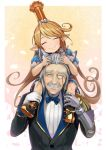1boy 1girl ^_^ animal_ears black_boots blonde_hair blue_bow blush boots bow bowtie charlotta_(granblue_fantasy) closed_eyes commentary_request crown facial_hair gauntlets granblue_fantasy hinami_(hinatamizu) long_hair monocle mustache pointy_ears sevastian_(granblue_fantasy) silver_hair sitting_on_shoulder smile very_long_hair