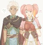 1boy 1girl artist_name blush boey_(fire_emblem) breastplate brown_eyes cape circlet dark_skin electricity fire_emblem fire_emblem_echoes:_mou_hitori_no_eiyuuou gloves grey_background hakirino highres long_hair mae_(fire_emblem) open_mouth pink_hair red_eyes scared simple_background teeth twintails upper_body white_hair