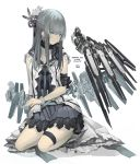 1girl arm_strap ascot bangs black_skirt dated dress feathers frilled_dress frilled_skirt frills green_eyes grey_hair hair_feathers hair_ornament highres long_hair mechanical_wings original rayvon seiza sidelocks sitting skirt sleeveless sleeveless_dress solo thigh_strap white_background wings