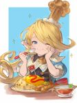 1girl ;t blonde_hair blue_eyes blush charlotta_(granblue_fantasy) commentary crown eating flag food food_on_face granblue_fantasy hand_on_own_cheek happy harbin holding holding_spoon long_hair omurice one_eye_closed plate pointy_ears solo sparkle spoon taroji
