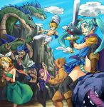 animal_ears aqua_eyes aqua_hair blonde_hair blue_eyes blue_hair boots bow bunny_girl bunny_tail bunnysuit cape circlet clouds commentary_request cosplay dragon_quest dragon_quest_iii dress hair_bow hatsune_miku hydra jester_(dq3) kagamine_len kagamine_rin kurio long_tongue megurine_luka one_eye_closed panties pink_hair rabbit_ears roto sky slime_(dragon_quest) striped striped_panties sword tail thigh-highs tongue tongue_out turban twintails underwear vocaloid weapon zombie