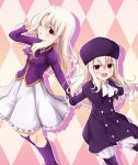 2girls :d ;p age_difference argyle argyle_background arm_up ascot bangs blonde_hair blush boots capelet coat collared_jacket commentary_request double-breasted eyebrows_visible_through_hair fate/stay_night fate/zero fate_(series) frilled_skirt frills fur_hat hair_between_eyes hat height_difference highres illyasviel_von_einzbern index_finger_raised jacket knee_boots long_hair long_sleeves looking_at_viewer morokoshi_(tekku) multiple_girls one_eye_closed open_mouth outstretched_arm outstretched_arms pants parted_bangs pink_background purple_boots purple_capelet purple_coat purple_hat purple_jacket red_eyes shadow shiny shiny_hair side_glance sidelocks skirt smile standing time_paradox tongue tongue_out white_pants white_skirt