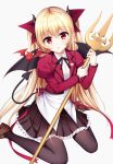 1girl animal bangs bat bat_wings black_legwear black_skirt blonde_hair bow buttons commentary_request crop_top cropped_jacket demon_horns demon_tail dress_shirt eyebrows_visible_through_hair hair_ribbon holding holding_weapon horns jacket juliet_sleeves long_hair long_sleeves looking_at_viewer meaomao open_mouth original pleated_skirt polearm puffy_sleeves red_bow red_eyes red_jacket red_ribbon ribbon shirt simple_background sitting skirt solo tail thigh-highs trident very_long_hair wariza weapon white_shirt wings