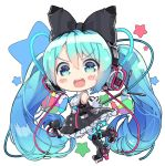 >:d 1girl :d aqua_eyes aqua_hair aqua_necktie bangs bare_shoulders black_boots black_bow black_dress blush blush_stickers boots bow buttons cable chibi collared_shirt cube dress frilled_dress frills from_side gloves hair_between_eyes hair_bow hatsune_miku headphones holding holding_microphone large_bow long_hair looking_at_viewer magical_mirai_(vocaloid) microphone microphone_stand namuya_(dlcjfgns456) necktie open_mouth outstretched_arm pinafore_dress platform_boots platform_footwear platform_heels pocket ribbed_shirt round_teeth shirt short_necktie sleeveless sleeveless_dress sleeveless_shirt smile solo standing standing_on_one_leg star striped striped_bow teeth thigh-highs thigh_boots twintails very_long_hair vocaloid white_background white_gloves white_legwear white_shirt