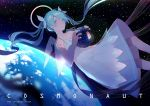 1girl absurdres blue_eyes blue_hair breasts collarbone dress floating_hair hair_ribbon hatsune_miku highres holding long_hair parted_lips ribbon ryuutsuki_basetsu sky sleeveless sleeveless_dress small_breasts solo space star_(sky) starry_sky tattoo transparent_wings twintails very_long_hair vocaloid white_dress white_ribbon