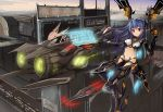 1girl aircraft airplane bangs blue_hair blush breasts closed_mouth cyborg eruthika eyebrows_visible_through_hair factory hand_up highres holding jet long_hair looking_at_viewer mechanical_arm medium_breasts original outdoors red_eyes revealing_clothes science_fiction smile solo