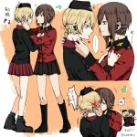 2girls adjusting_another's_clothes blush boots closed_eyes cosplay costume_switch darjeeling garrison_cap girls_und_panzer hand_on_another's_face hat heart kiss kuromorimine_military_uniform multiple_girls multiple_views musical_note nishizumi_maho skirt spoken_blush st._gloriana's_military_uniform sundebris twitter_username yuri