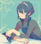 1girl aisutabetao blue_eyes blue_hair cape fingerless_gloves fire_emblem fire_emblem:_kakusei fire_emblem_heroes gloves looking_at_viewer lucina marth_(fire_emblem:_kakusei) mask reverse_trap short_hair smile solo tiara