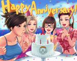 4girls :d ^_^ anniversary blonde_hair blowing blue_eyes breasts brown_eyes brown_hair cake candle casual cleavage closed_eyes collarbone cruiser_d.va d.va_(overwatch) english food freckles front-tie_top glasses hat headphones lipstick long_hair makeup medium_breasts mei_(overwatch) mercy_(overwatch) multiple_girls open_mouth outdoors overwatch party_hat ponytail short_hair smile tracer_(overwatch) umigraphics