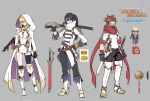1girl 2boys black_hair blonde_hair elbow_gloves gloves hood lloyd_irving mask midriff milla_maxwell multiple_boys red_eyes sachico66 scarf single_thighhigh sword tales_of_(series) tales_of_asteria tales_of_symphonia tales_of_vesperia tales_of_xillia thigh-highs weapon yuri_lowell