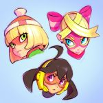 3girls ahoge arms_(game) bangs beanie blonde_hair blue_eyes brown_hair domino_mask facepaint green_eyes hat ilya_kuvshinov long_hair looking_at_viewer mask mechanica_(arms) min_min_(arms) multicolored_hair multiple_girls ponytail ribbon_girl_(arms) short_hair smile violet_eyes
