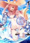 >;d 1girl ;d animal_ears animal_print arm_up ball beachball bikini bird blue_bikini blue_sky bracelet breasts cleavage clouds collarbone day ears_through_headwear eyebrows_visible_through_hair fang fate/grand_order fate_(series) fox_ears fox_tail fujimaru_ritsuka_(female) groin hat highres holding innertube jewelry large_breasts lens_flare long_hair looking_at_viewer motion_blur nahaki necklace one_eye_closed open_mouth outdoors pink_hair riyo_(lyomsnpmp)_(style) see-through shirt side-tie_bikini signature sky smile solo sparkle standing straw_hat sun_hat swimsuit tail tamamo_(fate)_(all) tamamo_no_mae_(swimsuit_lancer)_(fate) wading water water_drop wet wet_clothes wet_shirt yellow_eyes