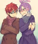2boys ahoge blue_eyes coat glasses green_eyes horns jeff_fungus lizard_tail male_focus monsters_inc. multiple_boys personification randall_boggs redhead scarf sharp_teeth short_hair slit_pupils teeth winter winter_clothes winter_coat