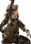 american_flag assault_rifle blood_type blue_eyes camofla camouflage gloves gun helmet highres load_bearing_vest marine_corps military night_vision redhead rifle shino_(r_shughart) weapon