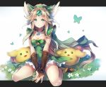 1girl blonde_hair blush breasts brown_gloves brown_hair cleavage cleavage_cutout deecha elbow_gloves eyebrows_visible_through_hair fingerless_gloves full_body gem gloves green_eyes jewelry large_breasts long_hair looking_at_viewer necklace rabite riesz seiken_densetsu seiken_densetsu_3 seiza sitting smile solo very_long_hair