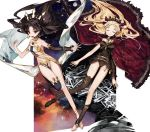 2girls bare_shoulders black_hair blonde_hair breasts cape closed_eyes crown earrings ereshkigal_(fate/grand_order) fate/grand_order fate_(series) hair_ribbon hoop_earrings ishtar_(fate/grand_order) jewelry judy6241 long_hair looking_at_viewer multiple_girls open_mouth red_cape red_eyes red_ribbon ribbon single_thighhigh skull space thigh-highs tiara tohsaka_rin toosaka_rin twintails