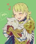 1girl armor bird blonde_hair blush braid cape closed_eyes feh_(fire_emblem_heroes) fire_emblem fire_emblem_heroes hiyori_(rindou66) hug long_hair open_mouth owl sharena smile solo
