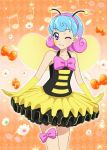 :3 aikatsu! aikatsu!_photo_on_stage!! bee_costume blue_hair bow costume dojima_nina_(aikatsu!) flower gloves headband multicolored_hair musical_note one_eye_closed pink_bow pink_hair tutu violet_eyes wings yellow_gloves