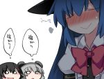 3girls :> animal_ears black_hair blue_hair bow closed_eyes commentary grey_hair hammer_(sunset_beach) hinanawi_tenshi long_hair mouse_ears multiple_girls nazrin open_mouth short_hair smile touhou translated