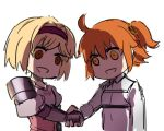 2girls ahoge bob_cut brown_eyes chibi djeeta_(granblue_fantasy) empty_eyes fate/grand_order fate_(series) fighter_(granblue_fantasy) fujimaru_ritsuka_(female) gauntlets granblue_fantasy hairband handshake juliet_sleeves long_sleeves multiple_girls nanaya_(daaijianglin) one_side_up orange_eyes puffy_sleeves riyo_(lyomsnpmp)_(style) shaded_face simple_background uniform upper_body white_background
