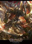 3boys armor axe battle beard caicaixiong chainmail clenched_hand facial_hair gauntlets glowing glowing_eyes helmet highres lance lens_flare minotaur multiple_boys official_art open_mouth polearm red_eyes shingeki_no_bahamut standing sword watermark weapon