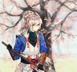 cherry_blossoms fire_emblem fire_emblem_if gloves holding japanese_clothes looking_at_viewer petals ponytail solo takumi_(fire_emblem_if) tree white_hair