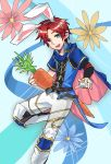 1boy absurdres animal_ears blue_eyes blush carrot fire_emblem fire_emblem:_fuuin_no_tsurugi fire_emblem_heroes highres looking_at_viewer male_focus open_mouth rabbit_ears redhead roy_(fire_emblem) short_hair smile solo